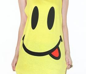 Smiley Face Yellow Singlet Tank Top Tunic Vest Women Sleeveless Shirt Pop Indie Punk Rock T-Shirt Size S