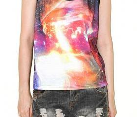 Cosmos Galaxy Universe Space Red Flare Aura Half Short Singlet Tank Top Sleeveless Shirt Tee Rock T-Shirt Size S