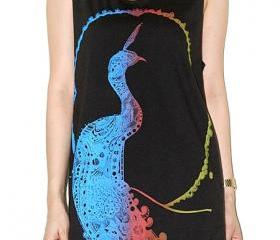Peacock Graphic Colorful Charcoal Black Art Singlet Tank Top Sleeveless Shirt Women Indie Punk Rock T-Shirt Size M